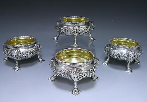 Four George II Antique Silver Salts