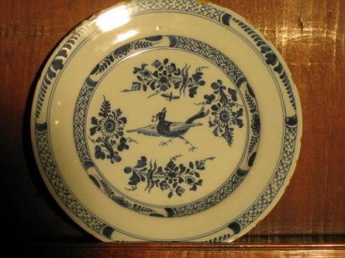 A late-18th century delftware plate