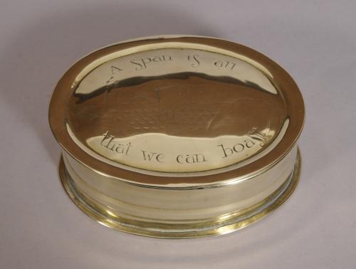 S/3609 Antique 19th Century Brass Box