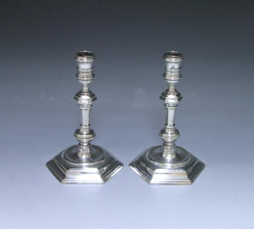 A Pair of George I Antique Silver Cast Candlesticks