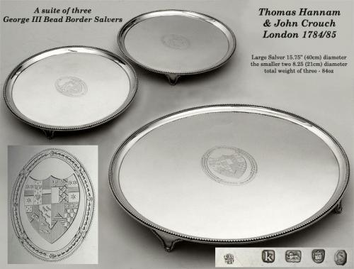 Suite of 3 George III Bead Edge Salvers by Hannam & Crouch