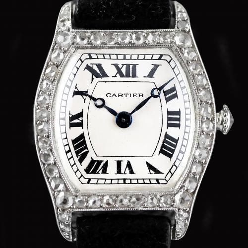 Cartier Platinum Diamond Tortue Wristwatch circa 1912