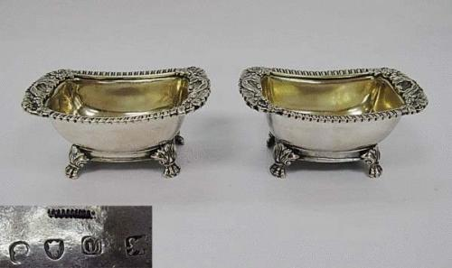 Pair of Antique Chinese Export Silver Salts