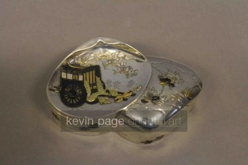 an unusual japanese silver box in the form of a shell (1880, japan)