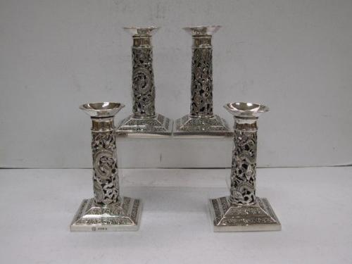 Set of 4 Chinese Export Silver Candlesticks