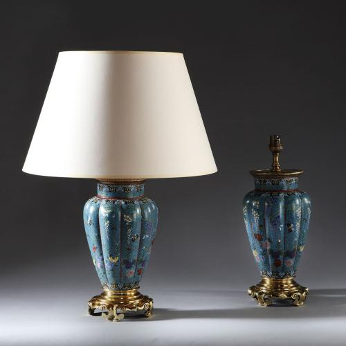 A Pair of Cloisonne Vases as Lamps