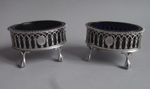 RAINE, THE COUNTESS SPENCER. An extremely rare & unusual pair of George III Neo Gothic Salt Cellars made in London in 1774 by Th