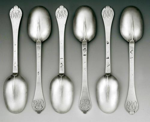 A highly important and extremely rare set of six William III Britannia Standard Trefid Spoons made in London in 1697 by Joyce Is