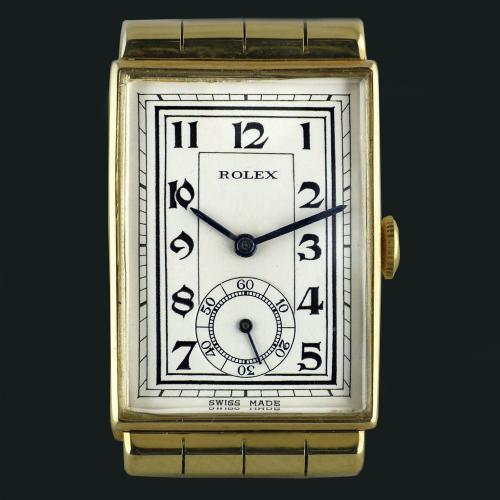 Rolex, Art Deco, Gold With Hooded Lugs Wristwatch 1937