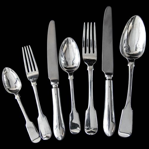 Antique Silver Fiddle Pattern Flatware