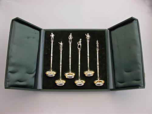 Cased Set 6 Victorian Novelty Silver Toddy Ladles Charles Dickens 'Pickwick Papers'