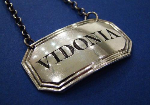 A Rare William IV Silver 'VIDONIA' Wine Label