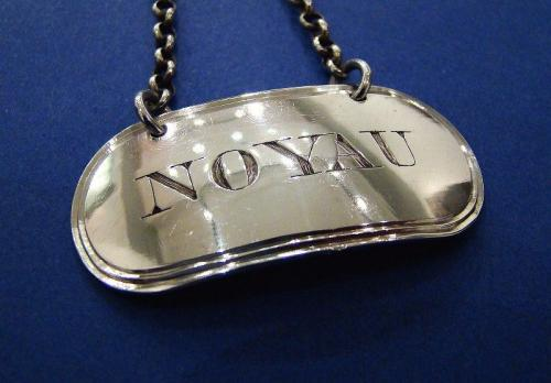 A Rare George III Silver 'NOYAU' Wine Label