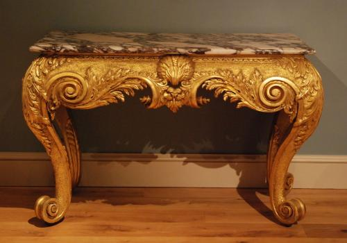 A George II side table the breche violette marble top. Circa 1730. Suite (with matching mirror)