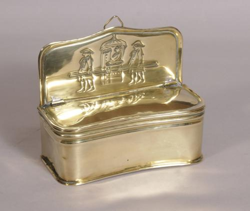 S/3610 Antique 19th Century Brass Candle Box