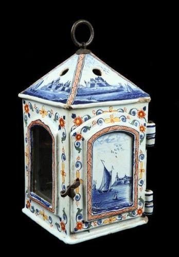 A rare, late-18th century, Dutch, polychrome delftware lantern
