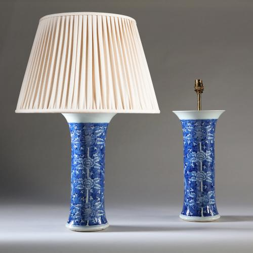 A Large Pair of Blue and White Trumpet Vases