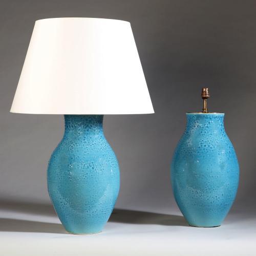 A Pair of Blue Glaze Studio Pottery Vases