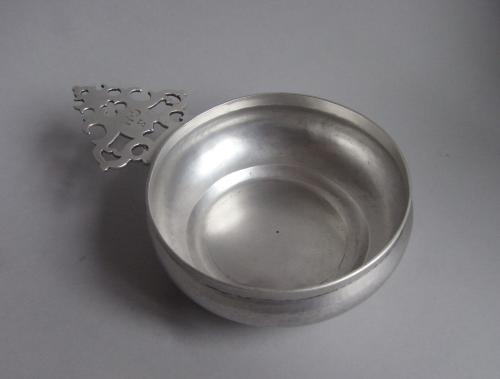 An extremely fine & rare William III Britannia Standard Side Handled Porringer made in London in 1701 by Matthew Madden
