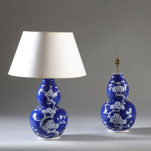 A Pair of Double Gourd Chinese Lamps
