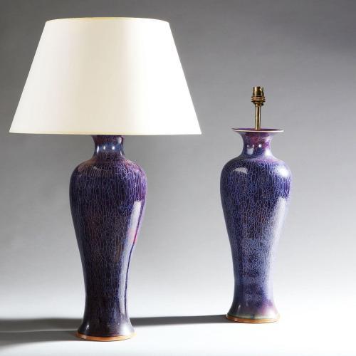 A Pair of Large Art Nouveau Flambe Lamps