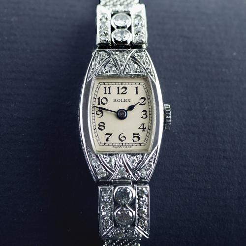 Rolex, Art Deco, 18ct White Gold, Diamond, Wristwatch, 1926
