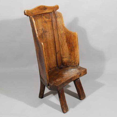 Early 19th Century Ash Primitive Childs Lambing Chair