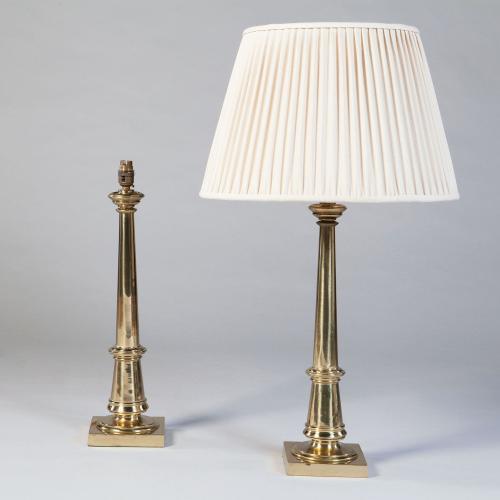 A Pair of Brass Column Lamps