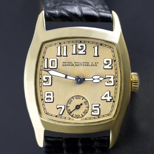 Patek Philippe, Gold, Art Deco Tonneau Shaped Wristwatch, 1926