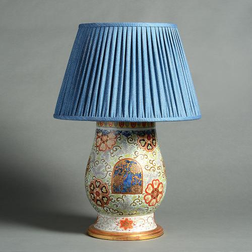 A Fine Polychrome Arita Vase as a Lamp