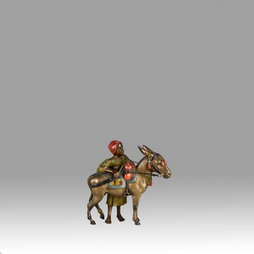 "Austrian Cold Painted Bronze Study ""Arab Boy & Donkey"" by Franz Bergman"