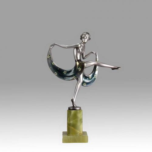 "Austrian Art Deco Cold Painted Bronze ""Crejo Scarf Dancer"" by Josef Lorenzl"