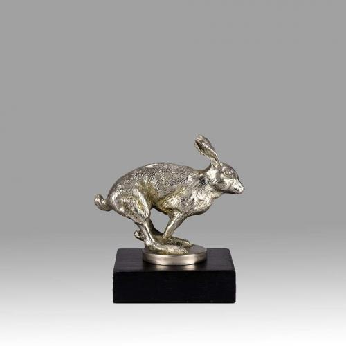 Art Deco French Nickel Plated Bronze Car Mascot 'Running Hare' by Louis Lejeune