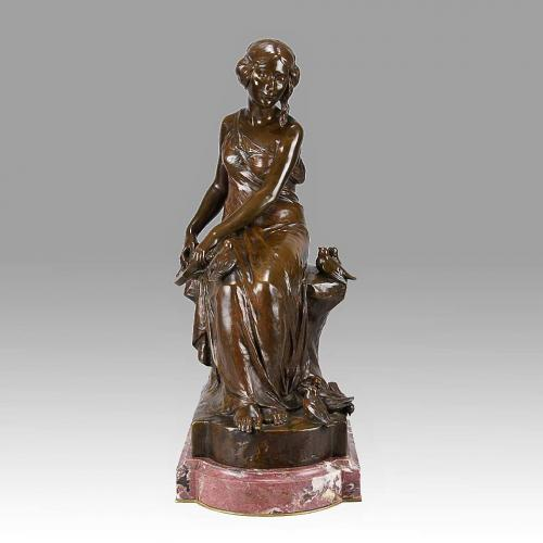 """French Art Nouveau Bronze Study """"Femme avec Oiseaux"""" By Maurice Bouval"""