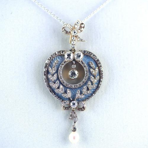 18ct Platinum Guilloché Enamel, Diamond, Pearl, Belle Epoque Pendant circa 1900