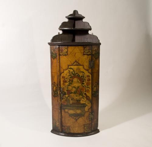 Early 18th Century Anglo Dutch Painted Hanging Corner Cupboard