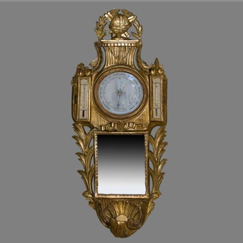 Mid 18th Century French Carved Giltwood Aneroid and Mercury Barometer