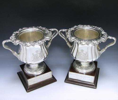 Two Antique Silver George IV Wine Coolers