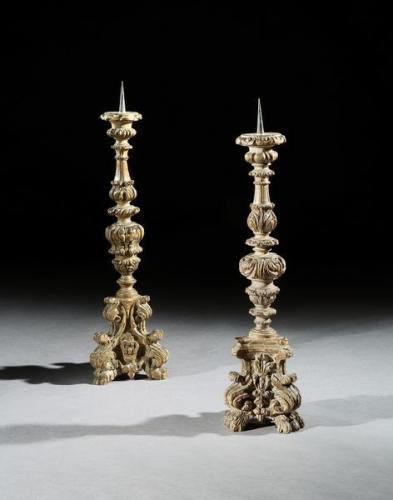 A matched pair of large, 19th century Italian carved beech candlesticks