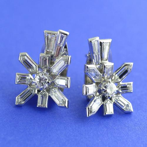 White Gold Diamond Sputnik Earrings circa 1958
