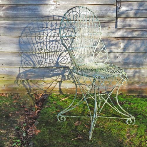 An Edwardian Painted Wirework Chair
