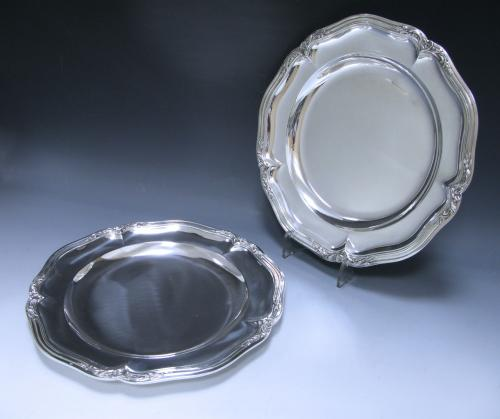 A pair of Antique Silver French Second Course Plates