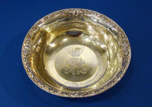 An Earl's Gilded Silver Shaving Bowl