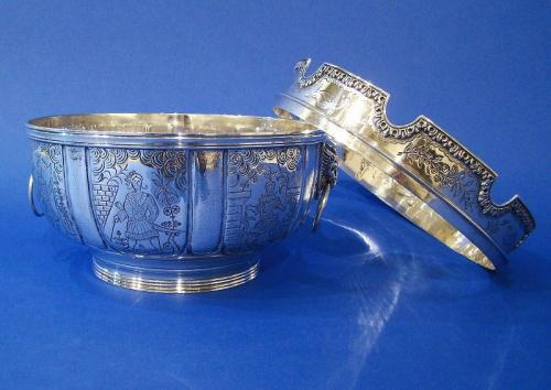 Silver Monteith with Chinoiserie Decoration