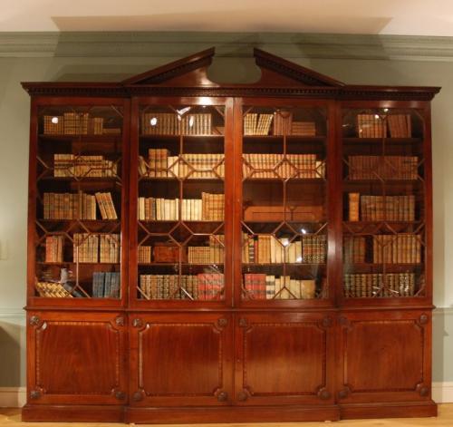 A mahogany breakfront bookcase Circa 1775