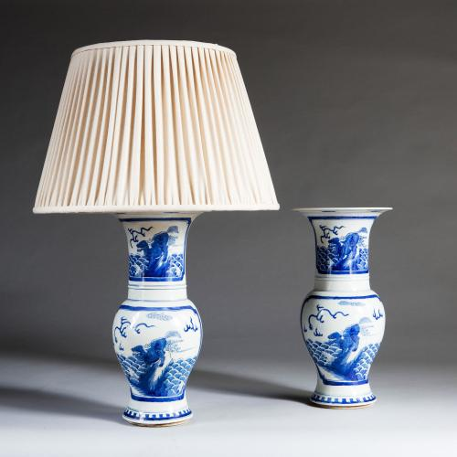 A Pair of Blue and White Trumpet Vases