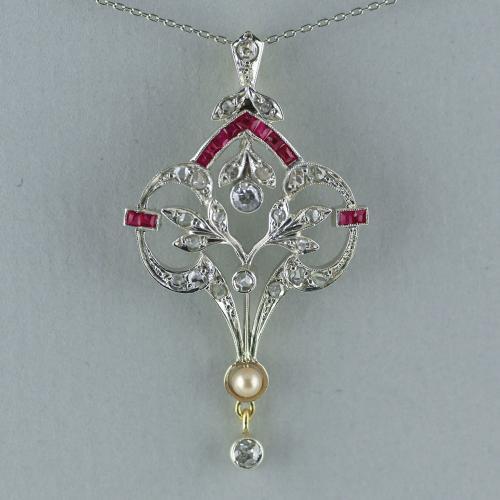 18ct Diamond, Ruby, Pearl , Belle Epoque Pendant circa 1910