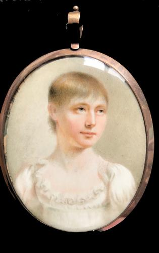 19th century portrait miniature of a young girl