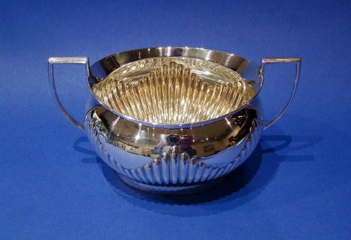 Large Edwardian Silver Half-fluted Sugar Bowl
