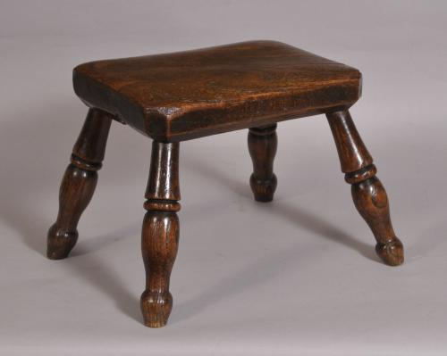 S/3631 Antique 19th Century Elm and Ash Stool